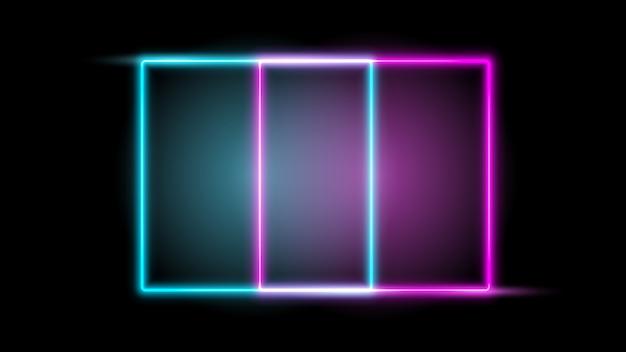 Leuchtender neonrahmen. gestaltungselement Premium Vektoren