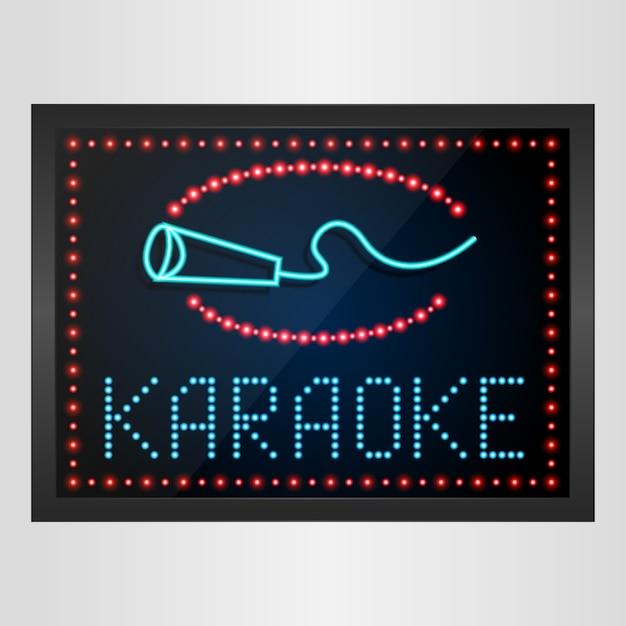 Leuchtendes led-panel-banner-karaoke-zeichen Premium Vektoren