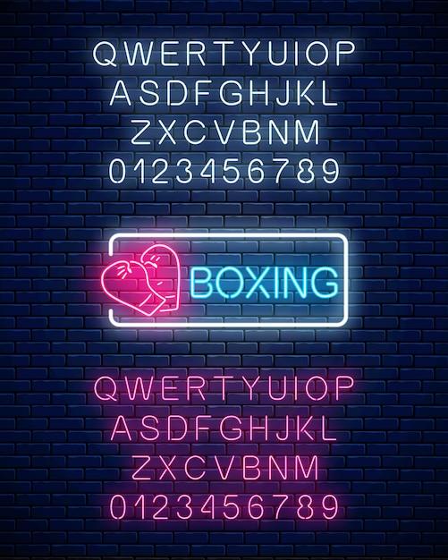 Leuchtendes neon-boxclub-zeichen im rechteckrahmen mit alphabet. Premium Vektoren