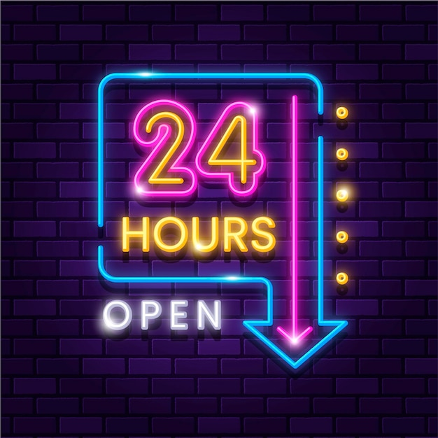 Leuchtendes neon öffnet vierundzwanzig stunden zeichen Kostenlosen Vektoren