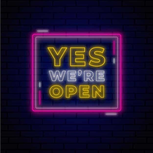 Leuchtendes neon wir sind offenes zeichen Kostenlosen Vektoren