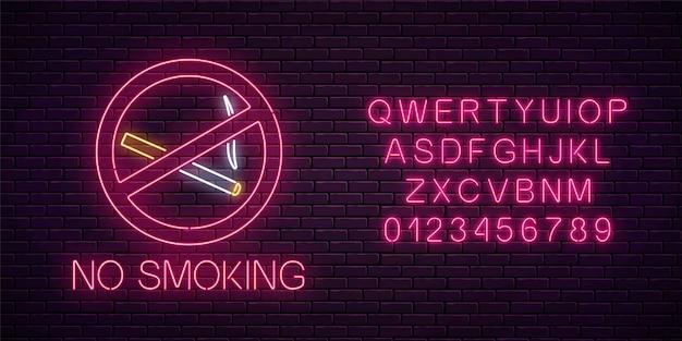 Leuchtendes neonschild raucht nicht mit alphabet auf dunkler backsteinmauer des nachtclubs oder der bar. zigarettenverbot Premium Vektoren
