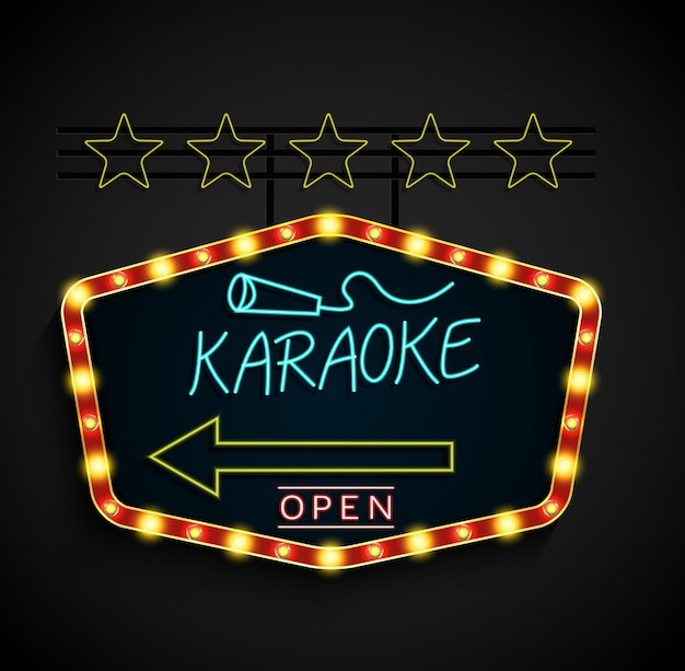 Leuchtendes retro- helles fahne karaoke auf einem schwarzen hintergrund Premium Vektoren