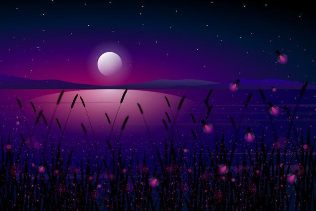 Leuchtkäfer in meer mit sternenklarer nacht und bunter himmellandschaftsillustration Premium Vektoren