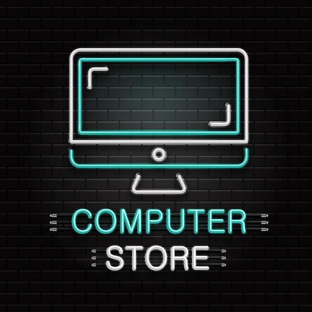 Leuchtreklame des computers für dekoration auf dem wandhintergrund. realistisches neonlogo für computergeschäft. konzept des elektronikgeschäfts und der technologie. Premium Vektoren