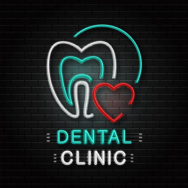 Leuchtreklame des zahnes für dekoration auf dem wandhintergrund. realistisches neonlogo für zahnklinik. konzept von gesundheitswesen, zahnarztberuf und medizin. Premium Vektoren