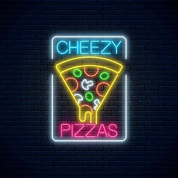 Leuchtreklame pizza mit tropfendem käse. Premium Vektoren