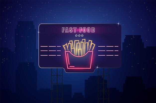Leuchtreklame pommes Premium Vektoren