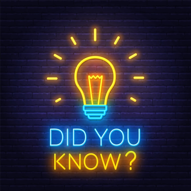 Leuchtreklame wussten sie mit glühbirne auf der mauer hintergrund. Premium Vektoren