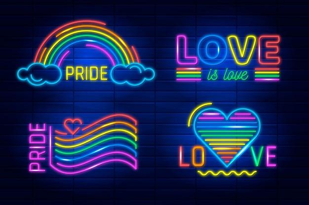 Leuchtreklamen für pride day event Kostenlosen Vektoren