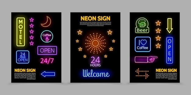 Leuchtreklamen werbeplakate mit beleuchteten rahmen bunte inschriften leuchtende sterne funkeln Kostenlosen Vektoren