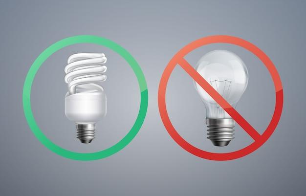 Leuchtstofflampe des vektorillustrationskonzepts gegen glühlampe zur energieeinsparung Kostenlosen Vektoren
