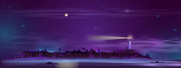 Leuchtturm in der nacht auf dem hügel Kostenlosen Vektoren