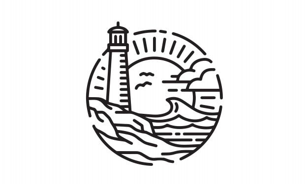 Leuchtturm-küstenstrand-logodesign Premium Vektoren