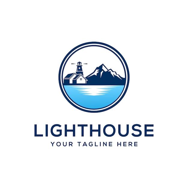Leuchtturm logo design vorlage Premium Vektoren