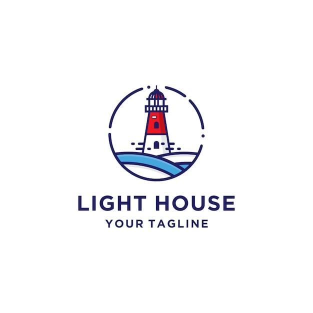 Leuchtturm logo vorlage Premium Vektoren