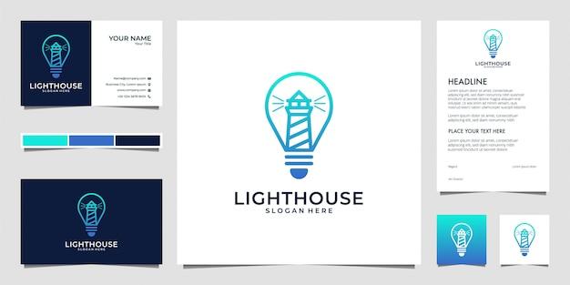 Leuchtturm mit glühbirne, lamp line art logo design und visitenkarte Premium Vektoren
