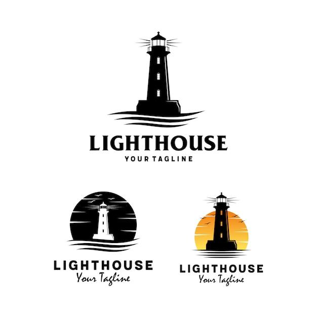 Leuchtturm mit ozeanwellenlogodesign Premium Vektoren
