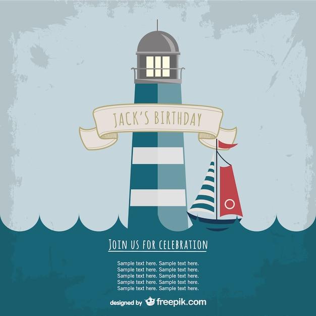Leuchtturm-Party Einladungsschablone | Download der kostenlosen Vektor