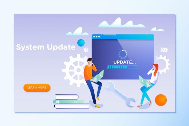 Leute aktualisieren betriebssystem Premium Vektoren