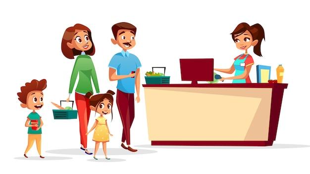 Leute am kassenschalter der familie mit kindern im supermarkt mit einkaufszähler Kostenlosen Vektoren
