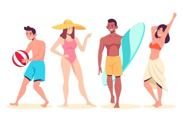 Leute am strand stehen Premium Vektoren