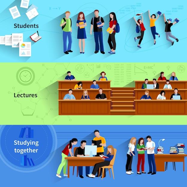 Leute an den flachen horizontalen fahnen der universität mit den studenten, die zusammen studieren Kostenlosen Vektoren
