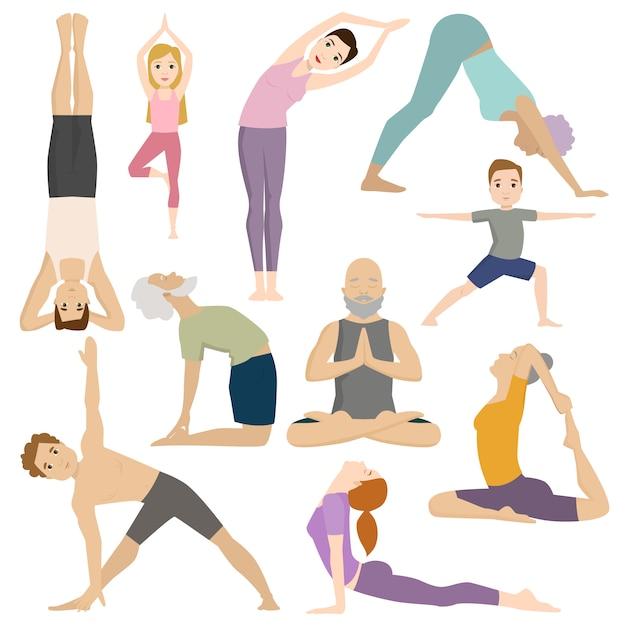 Leute arbeiten im fitness-club-yogaklassen-vektorcharakter aus. Premium Vektoren