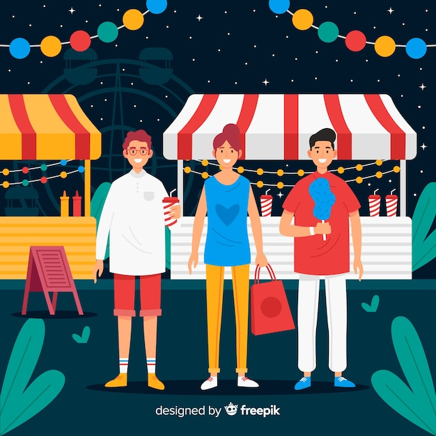 Leute auf einer nachtmesse Kostenlosen Vektoren