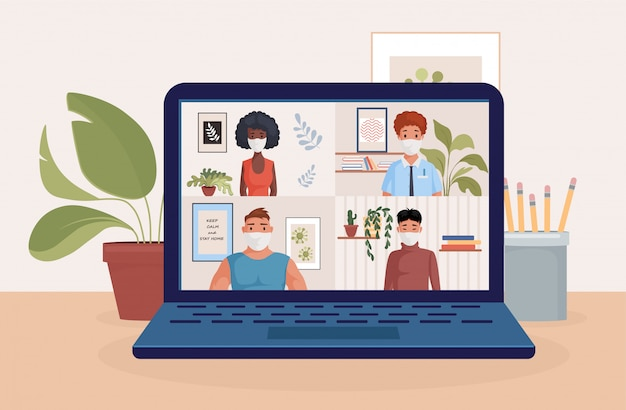 Leute auf laptop-bildschirm sprechen mit freunden oder kollegen illustration. videokonferenz, fernarbeit. Premium Vektoren