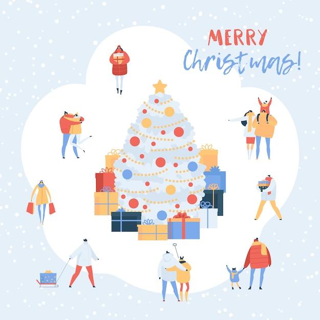 Leute auf weihnachtsweihnachtsbaum mit geschenken und karikaturpaaren, familiencharaktere, die in winter gehen. illustrationssatz männer, frauen, welche die geschenke des neuen jahres lokalisiert auf weiß halten Premium Vektoren