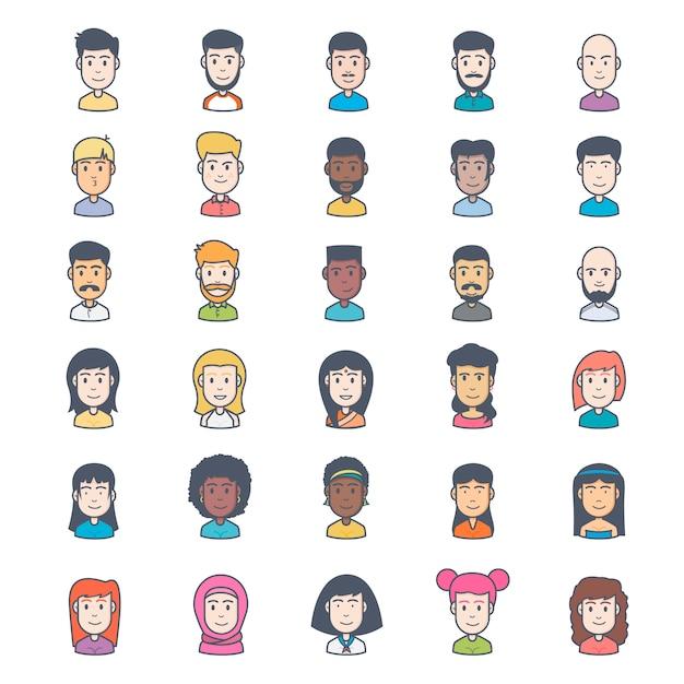 Leute avatar Sammlung Kostenlose Vektoren