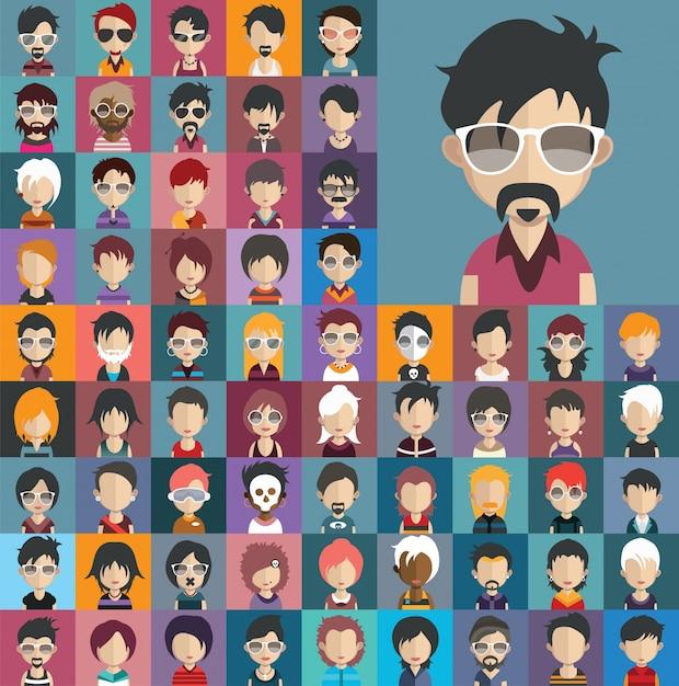 Leute avatar sammlung Premium Vektoren