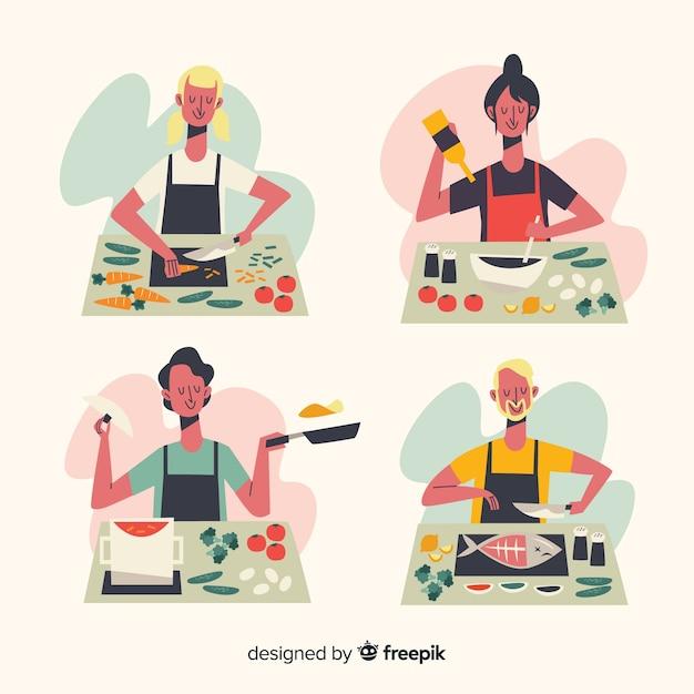 Leute bei der küchensammlung Kostenlosen Vektoren