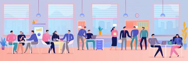 Leute beim geschäftstreffen im büro flach horizontal Kostenlosen Vektoren