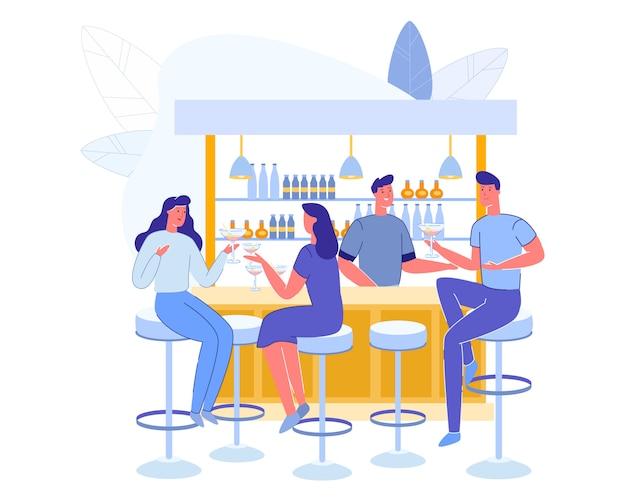 Leute-besuchscafé. männer und frauen charaktere Premium Vektoren