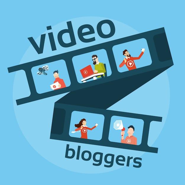 Leute-blogger-video-blog-konzept Premium Vektoren