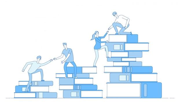 Leute buchen stapel. studenten klettern bücher geschäftserfolg bildungsniveau personal fähigkeiten entwicklung lernmaterial konzept Premium Vektoren