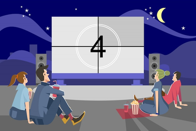 Leute, die abends draußen filme schauen Kostenlosen Vektoren