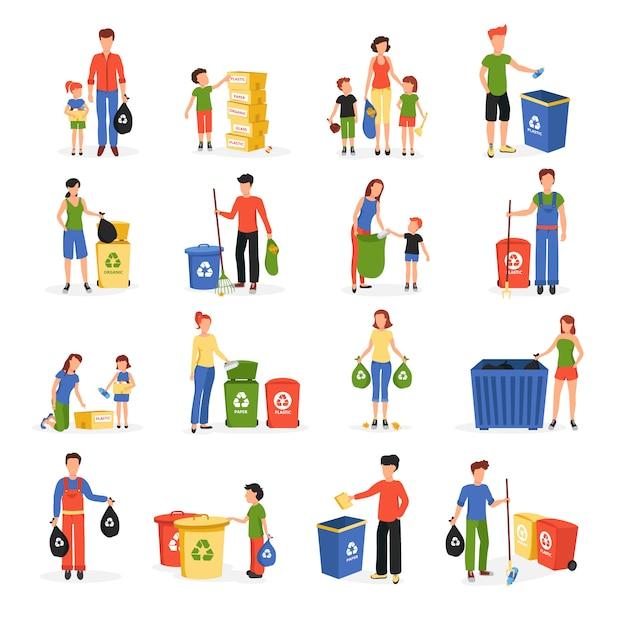 Leute, die abfall sammeln und für die wiederverwertung der flachen lokalisierten ikonensammlungszusammenfassung wiederverwenden Kostenlosen Vektoren