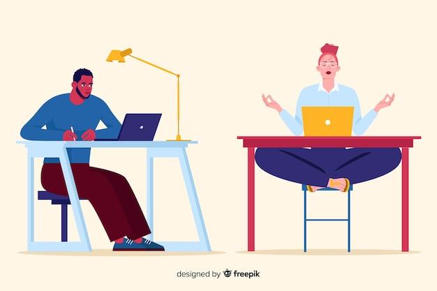 Leute, die am flachen design des büros arbeiten Kostenlosen Vektoren