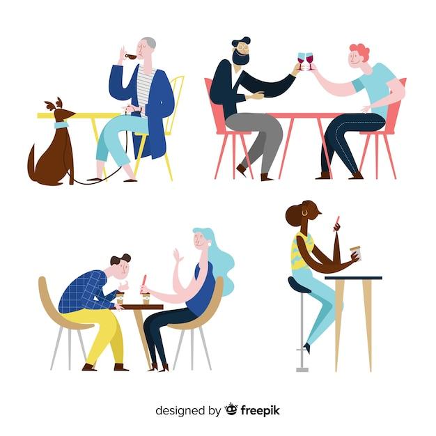 Leute, die am flachen design des cafés sitzen Kostenlosen Vektoren