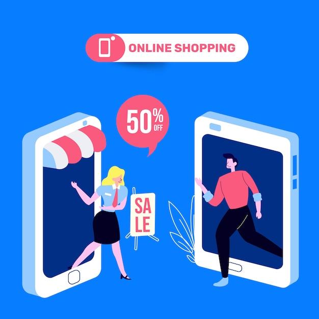 Leute, die an der on-line-speicher-illustration kaufen Premium Vektoren