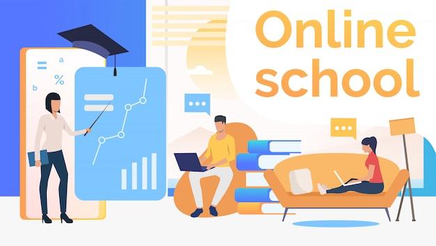 Leute, die an der online-schule, am wohngebäude und am lehrer studieren Kostenlosen Vektoren