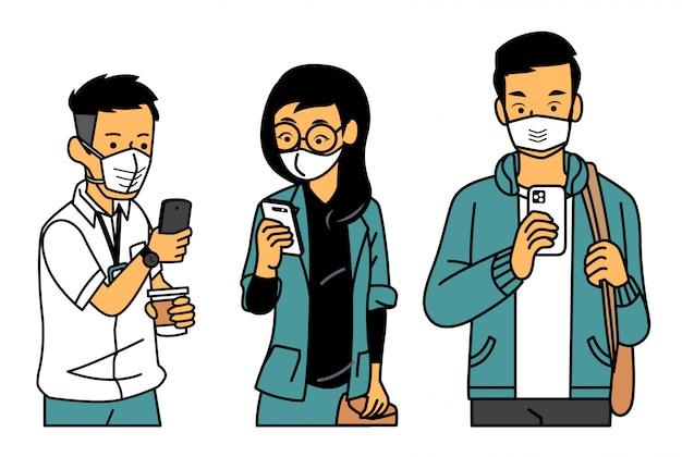 Leute, die auf ihr telefon schauen, während sie maske tragen Premium Vektoren