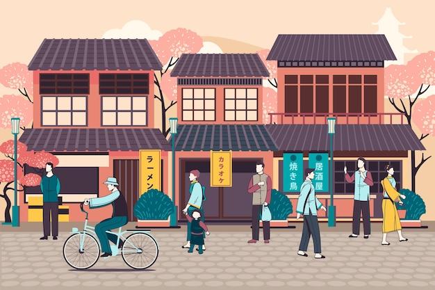 Leute, die auf japanischer straße gehen Kostenlosen Vektoren