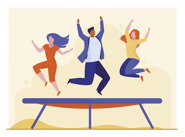 Leute, die auf trampolin springen Kostenlosen Vektoren