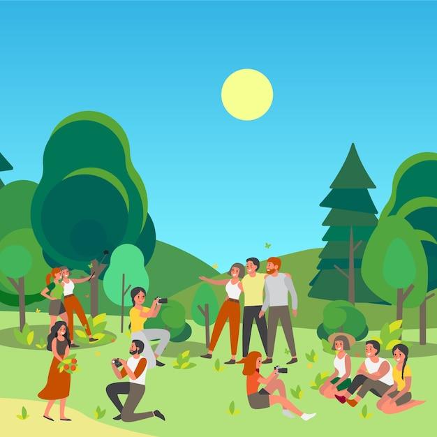 Leute, die bild anheften oder elfie zusammen im öffentlichen park machen. sommerzeit mit freunden. charaktere, die draußen fotos von sich machen. Premium Vektoren