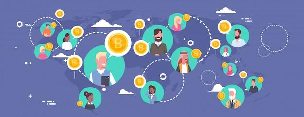 Leute, die bitcoins über weltkarte-modernem digital-geldnetz-krypto-währungs-konzept kaufen Premium Vektoren