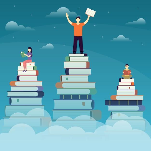 Leute, die bücher lesen, erwerben illustration der neuen fähigkeiten Premium Vektoren